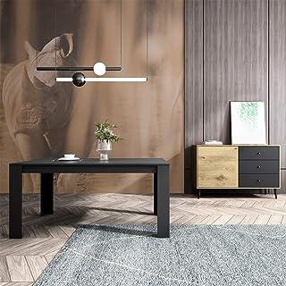 Mc Haus TROTTER - Mesa Comedor Madera Natural Negro salon Mesa cocina oficina de Diseño Rectangular con patas de madera 1...