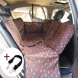 Funda de Asiento de Coche de Perro a prueba de agua Asiento de Asiento de Perro de Mascota Asiento Trasero para Carro SUV Tronco Cubierta de Protección de Hamaca con Solapas de Café