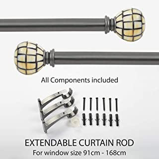 Deco Window 1 Inch Adjustable Grey Curtain Rod for Windows Curtains with Round Finials & Brackets Set - 36