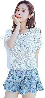 (ウミノホシ)Seastar 水着 レディース 体型カバー タンキニ ビキニ フリル 4点セット 可愛い花柄