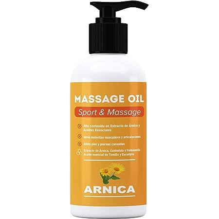 ARNICA - Huile de massage aux extraits d'Arnica, Calendula et Hamamélis - Récupération musculaire - 250 ml. - Effet relaxant pour tous types de douleurs musculaires, dos, épaules, pieds, genoux