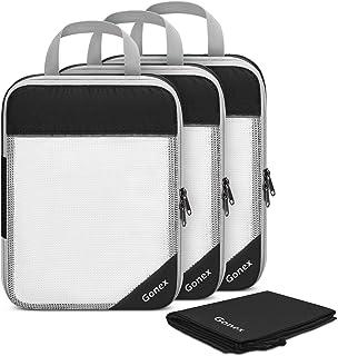 Gonex Compression Packing Cubes Set, Travel Suitcase Luggage Organizer 3pcs+ Shoe Bag+ 4 Zip Bags Black