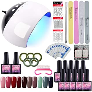 Saint-Acior Kit Uñas de Gel 10 Piesas Esmaltes Semipermanentes 8ml Gel Uñas 24W UV/LED Lámpara Secador de Uñas Seca Rápido Capa Base Capa Superior Kit de Manicura y Pedicura