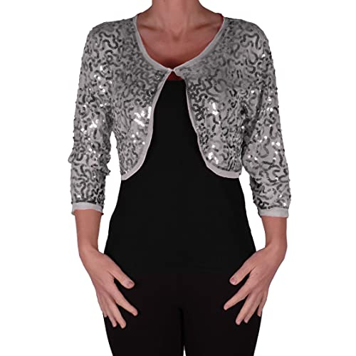 6c5e7362 Eyecatch - Scarlett Sequin Chiffon Long Sleeve Top Bolero Shrug Cardigan