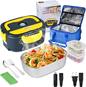 Electric Lunch Box for Car and Home, Diggtek 50W Portable Food Warmer, 3 In 1 Heated Lunch Box 12V 24V 110V with Removable Stainless Steel Container,2 Compartments,Fork & Spoon,Washing Cloth,Carry Bag