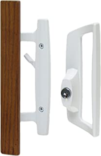 """Bali Nai Sliding Glass Door Handle Set with Oak Wood Pull in White Finish, Includes Key Cylinder, Standard 3-15/16"""" CTC Screw Holes, 1-3/4"""