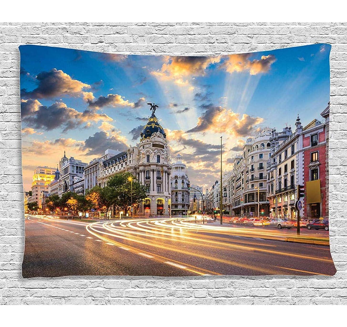 仕様変成器ジャニスChunxd ヨーロッパの街並みの装飾コレクション通りの眺めモダンなマドリードと空の風景大きな旧市街の部屋タペストリー?-150X200Cm