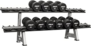 Rep Fitness Urethane Coated Dumbbells, Sold in 5-50 lb, 5-75 lb, 5-100 lb, 55-75 lb, and 80-100 lb, Available in Set Alone, or with Commercial or 3-Tier Rack