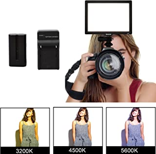 Dazzne Bi-Color LED Video Light Panel, CRI95 Dimmable 1%-100% Photography Rig Lighting on Camera Camcorder YouTube Video Photo Shooting 3200K-5600K with Battery