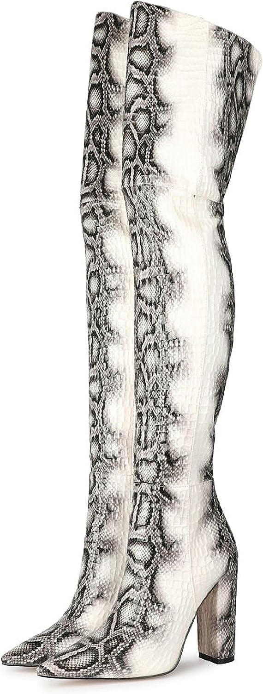 Women's Snakeskin Casual Knee High Boot