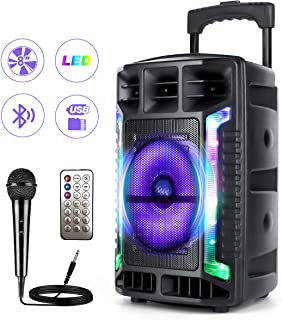$99 » Portable Karaoke Machine 8'' PA Speaker System Bluetooth Karaoke System for adults & Kids with DJ LEDs, Microphone Rechargeable Battery USB / SD Reader