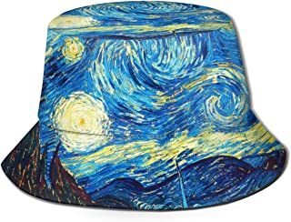 Sun Hat Van Gogh The Starry Night Bucket Cap UV Sun Protection Fisherman's Hat Foldable Lightweight Breathable Outdoor Travel Cap Black