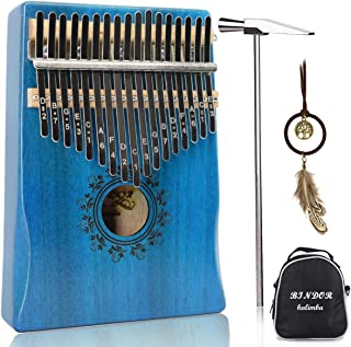 17 Key Kalimba Thumb Piano, Bindor Finger Piano Mbira Kalimba Solid Mahogany Body Portable Easy-to-learn Musical Instrument with Tuning Hammer (Blue)