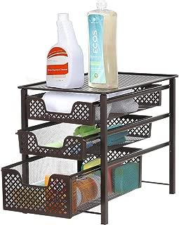 NEX 3-Tier Sliding Cabinet Basket Organizer Drawer Stackable for Bathroom Kitchen, 16.7''L x 10.9'' W x 13.7'' H, Bronze
