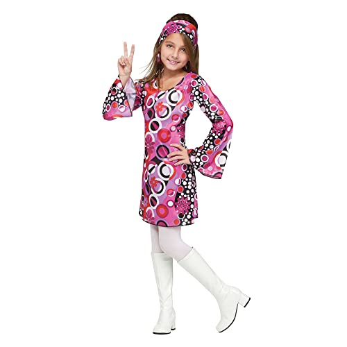 Groovy 70/'s Girl Kids Fancy Dress 1970/'s Retro Disco Kids Girls Costume Outfit