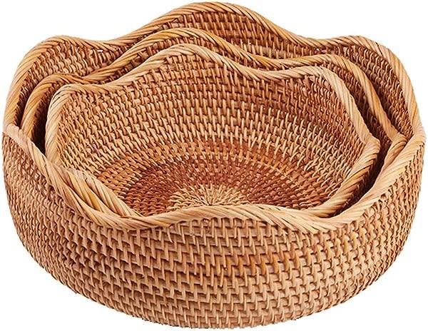Amololo Handmade Rattan Round Fruit Basket Food Storage Bowls Kitchen Organizer Snack Serving Bowl 3 Size Kit