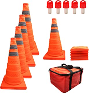 """HYDDNice 5 Pack 18"""" Collapsible Traffic Cones with LED Lights Reflective Safety Cones 2 Reflective Silver Strips"""