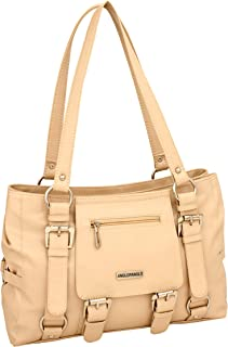 ANGLOPANGLO Jessica Genuine Leatherette Handbags for Girls and Women (Cream Color)