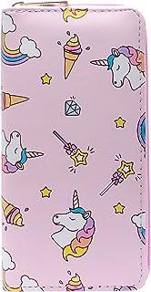 DonDon Portafoglio borsellino da donna ragazza con cerniera Unicorno e ghiaccio