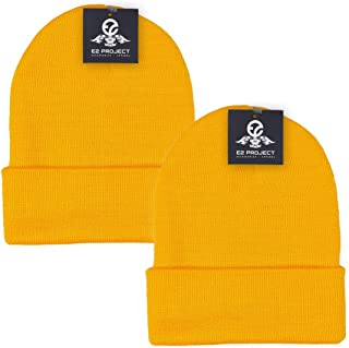 e2ee1f4317fdaf 2 Pack Classic Solid Color Ski & Winter Cuff Beanie Skull Cap for Men or  Women