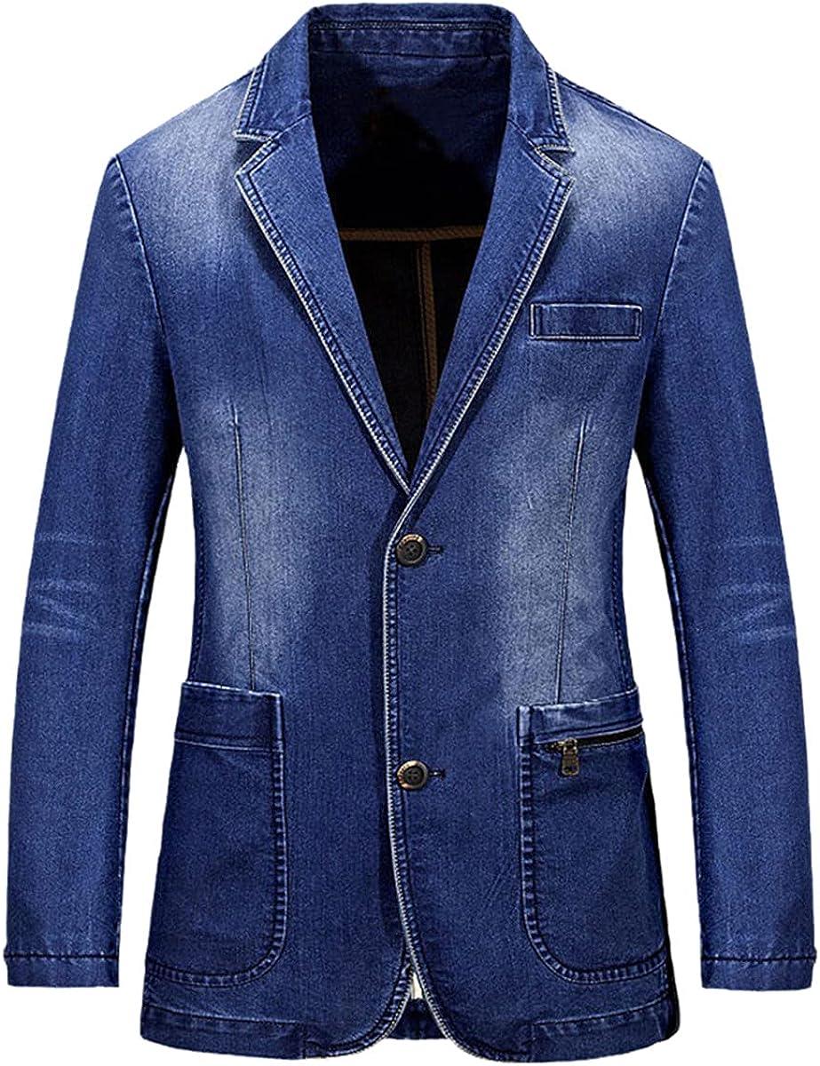 Men's Denim Casual Blazer Fashion Cotton Retro Blazer blazerue Jacket Denim Jacket Plus Size Jeans Blazer