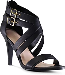 AFFORDABLE FOOTWEAR Women's Open Toe Cross Strap Low Platform Stiletto High Heels Dress Sandal