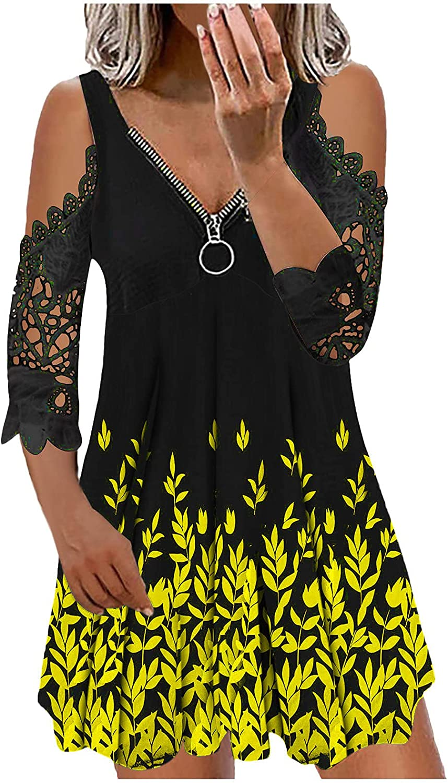 ManxiVoo Women Zipper V Neck Cold Shoulder Lace Panel Half Sleeve Tunic Dress Floral Short T-Shirt Dress