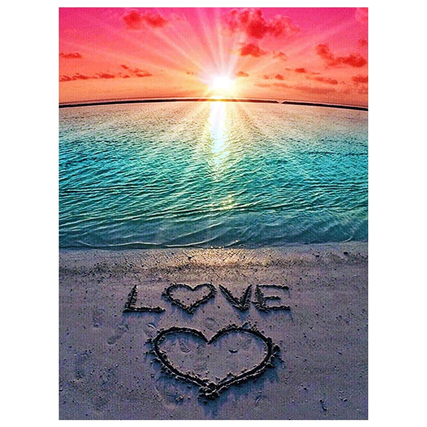 mifengda DIY 5D Diamond Painting Kits Full Drill Diamond Embroidery Paintings Pictures by Number for Adults Kids for Home Wall Decor Study Room, Love Beach (30x40cm/11.8x15.7