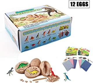 Jintao Dinosaur Toys, Dig it Up Dinosaur Egg - Novelty Chiseling 12 Dino Eggs and Discover 12 Unique Dinosaur Figures (Dino Egg 2)