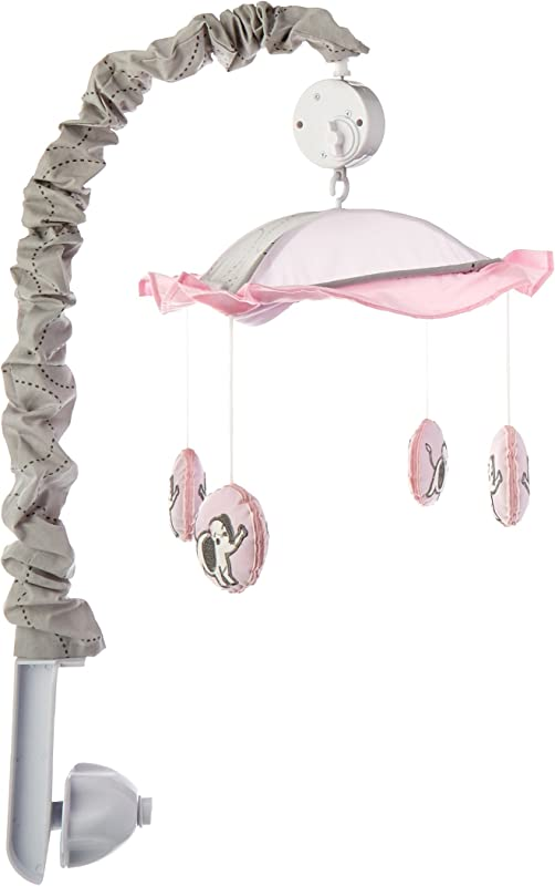 GEENNY Musical Mobile Pink Gray Elephant