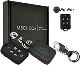 MECHCOS Compatible with fit for 6btn M3N-32337100 2015 to 2017 Tahoe Chevrolet Suburban GMC Yukon Leather Keyless Entry Remote Control Key Fob Cover Pouch Bag Jacket Case Protector Shell