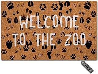 MsMr Doormat Funny Doormat Welcome to The Zoo Creative Designed Door Mat Entrance Floor Mat for Indoor Outdoor Non-Woven 23.6