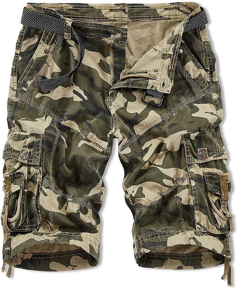 SCHONTAN Men's Casual Outdoor Cargo Shorts Relaxed Fit with Pockets Camo Kahaki Short Men