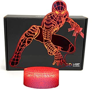 DGLighting Superhero Cartoon Shape 3D Illusion LED Desk Lamp Night Light with Lighted ABS Base and USB Cable,7 Colors Change,Smart Touch Button Control,for Home Decor (Spiderman)