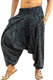 Men Women Cotton Harem Pants Pockets Yoga Trousers Hippie