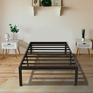 KINGSO Twin Bed Frame, 14 Inch Metal Platform Bed Frame with Storage, Heavy Duty Steel Slat and Anti-Slip Support, Easy Quick Lock Assembly, No Box Spring Needed - Twin