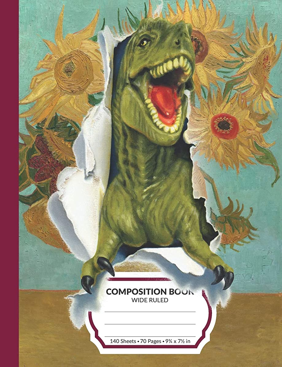 Composition Book: Dinosaur Van Gogh Wide Ruled Blank Lined Writing Notebook | School Exercise Book For Assignments, Studying, or Notes (Sunflowers Edition)