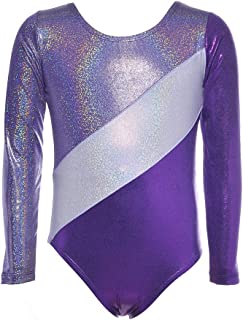 Gymnastics Leotards for Girls One-piece Sparkle Long Sleeve Colorful Rainbow Dancing Athletic Unitard 2-11Years