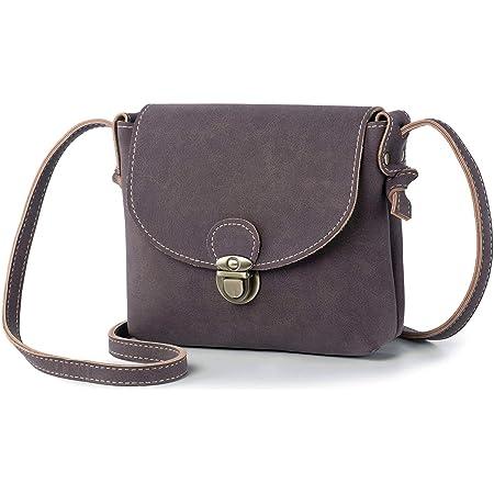 LaRechor Kleine Umhängetasche Damen mit Sicher Schloss, Retro Vegan Leder Handtasche Mini Damentasche zum Umhängen (Kaffee)