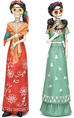 Colorful Burnt Orange Teal Frida with Dress 12.5 x 3 Resin Stone Decorative Tabletop Figurine