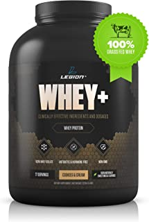 Legion Whey+ Cookies & Cream Whey Isolate Protein Powder from Grass Fed Cows, 5lb. Low Carb, Low Calorie, Non-GMO, Lactose Free, Gluten Free, Sugar Free. Great for Weight Loss & Bodybuilding.