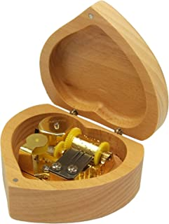 falado Heart Shaped Beech Wood Music Box Wind Up and Golden Movement Music Box for Christmas/Birthday/Valentine's Day (Song:You are My Sunshine)