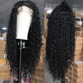 AISI HAIR Black Long Curly Lace Front Wigs with Baby Hair Long Kinkys Curly Wig Synthetic Lace Front Wigs Curly Long Wigs for Women(26inch,1B#)