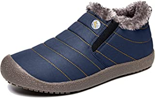 EXEBLUE Enly Winter Snow Boots Slip-on Water Resistant Booties for Men Women, Anti-Slip Lightweight Ankle Boots with Full Fur