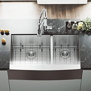 VIGO VGR3620BLK1 36 Inch Double Bowl 16 Gauge Stainless Steel Commercial Grade Farmhouse Apron Front Kitchen Sink with Two Grids and Two Strainers, Rounded Corners and SoundAbsorb Technology
