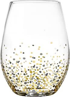 Fitz and Floyd 229709-4ST Confetti Black Stem less Glasses (Set of 4), Gold