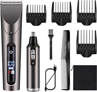 Hatteker Mens Hair Trimmer Clipper Cordless Beard Trimmer Ear Nose Hair Trimmer Professional Haircut & Grooming Kit For Me...