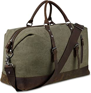 BLUBOON Reisetasche aus Segeltuch für Damen und Herren, Reisetasche, echtes Leder, armee-grün Grün - BLUBOON