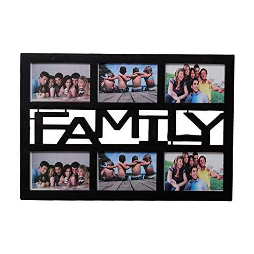 eCraftIndia Family Collage Acrylic and Glass Photo Frame (37.5 cm x 2.5 cm x 47.5 cm, Black, CPF500)