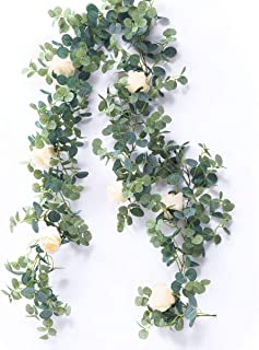 Australove Artificial Eucalyptus Garland with Champagne Rose- Floral Garland Eucalyptus Leaves for Wedding Backdrop Wall D...